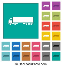 Camion multi colored flat icons on plain square backgrounds. Included white and darker icon variations for hover or active effects.