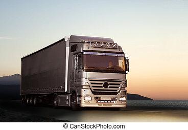 camion, su, uno, strada paese