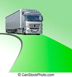 camion, su, verde, corsia