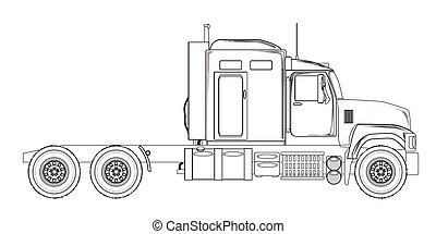 camion, tracteur, unité, contour