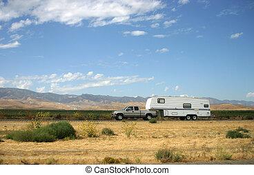 camion, traction, caravane