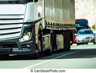 camion, trafic, semi