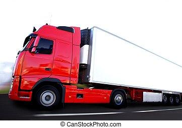 camion transport frigo en pleine vitesse