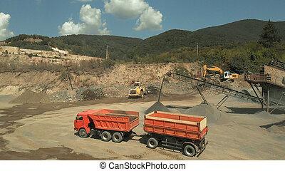 camion, transportation., orange, charbon