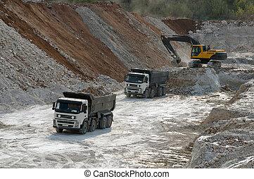 camion, transports, argile