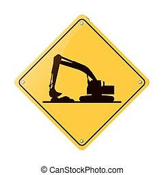 camion, travail construction, dur, excavateur