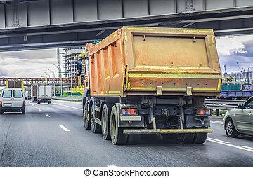 camion, va, autoroute, décharge