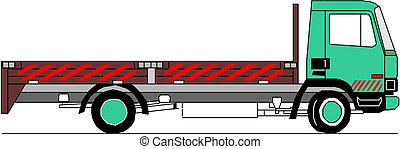 camion, vecteur, lourd