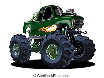 camion, vecteur, monstre, dessin animé