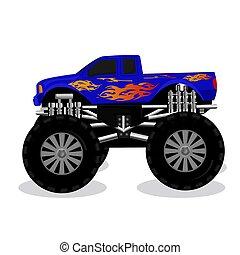 camion, vecteur, monstre, illustration