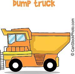 camion, vettore, arte, cartone animato, discarica