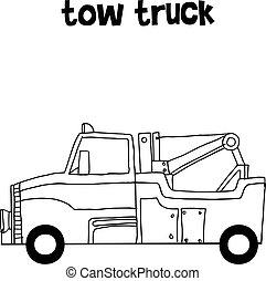 camion, vettore, arte, rimorchio, collezione