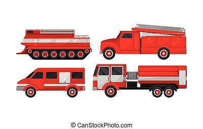camion, vettore, set., emergenza, fuoco, collection., motore