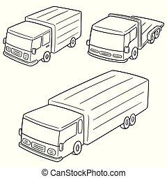 camion, vettore, set