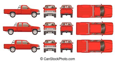 camioncino scoperto, automobile, cabine, tipi