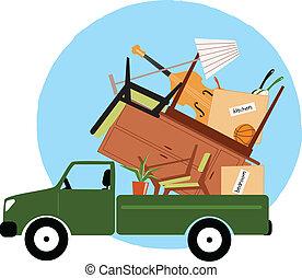 camioncino scoperto, caricato, con, mobilia