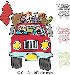 camioncino scoperto, viaggio, strada, famiglia