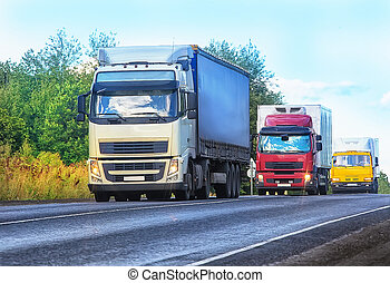 camiones, ir, en, el, carretera