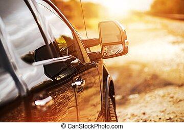 camioneta, del camino, conducción
