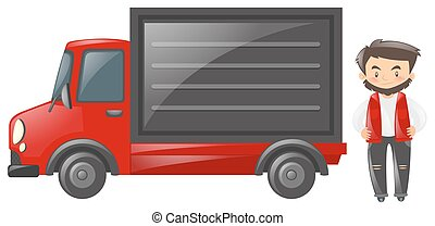 camionista, vermelho
