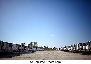 camionnage, distance, caravanes, multiple, long