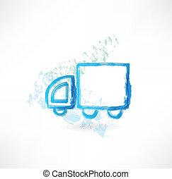 camionnage, grunge, icône