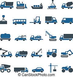 camionnage, industry., construction, vecteur, icônes