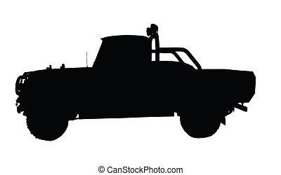 camionnette, vendange, 4x4, silhouette