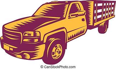 camionnette, woodcut