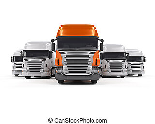camions, isolé, blanc
