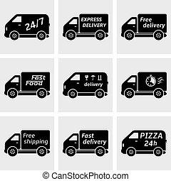 camions livraison, icônes