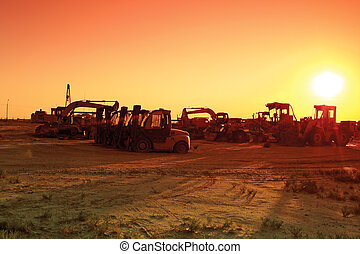 camions, sunset.