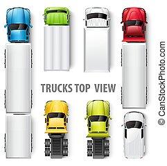 camions, vecteur, illustration, vue., sommet