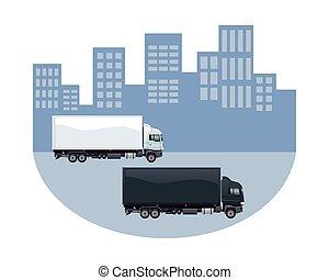 camions, ville, urbain, marquer, scène