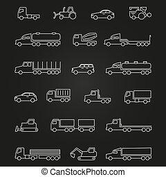 camions, voitures, machines, ligne, icônes, de, ensemble