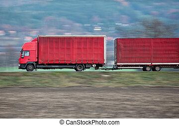 camion/truck, 使われた, 行く, (panned, イメージ, movement;, -, 道, 早送り, 包囲, 間, トラック, 赤, 運びなさい, ぼやけ, シャープ, blurred), reasonably, 風景