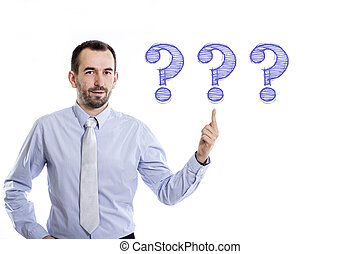camisa azul, apontar, pergunta, -, jovem, cima, 3, marcas, pequeno, homem negócios, barba