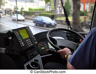 camisa azul, autobús, nublado, mojado, equitación, hombre, ...