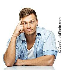 camisa azul, isolado, brinco, elegante, branca, homem