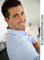camisa azul, jovem, retrato, homem, bonito