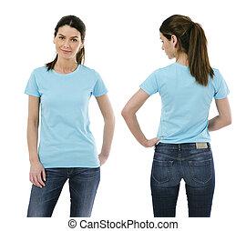 camisa azul, luz, posar, em branco, excitado, senhora