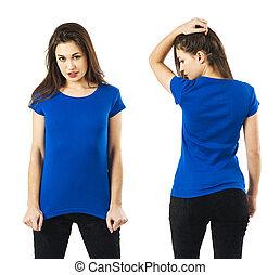 camisa azul, posar, em branco, excitado, senhora