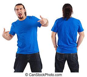 camisa, blanco, azul, señalar, macho, el suyo