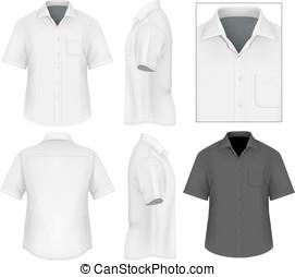 camisa, botón, hombres, abajo, diseño, plantilla