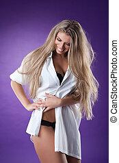 camisa branca, mulher, bonito, excitado