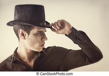 camisa, cima, joven, vampiro, negro, retrato, sombrero,...
