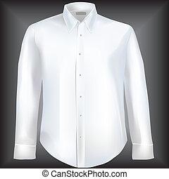 camisa, com, longo, mangas