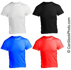 camisa, cor, muitos, homens, modelo, em branco