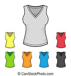camisa, cor, set., mulheres, vetorial, desenho, modelo, v-neck