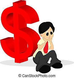 camisa, dinheiro, costas, preocupado, olhar, sinal, homem